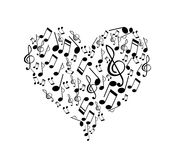 Music notes heart shape Royalty Free Stock Photos