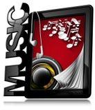 Musique - PC de Tablette avec des écouteurs Photographie stock