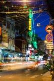 Nachtansicht der Bui Vien-Straße, Ho Chi Minh City, Vietnam Stockfoto