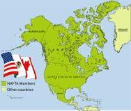 NAFTA map Royalty Free Stock Photo