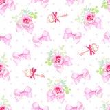 Nahtloser Druck des romantischen Vektors mit netten Satinbögen, rosafarbene Blume Stockfotos