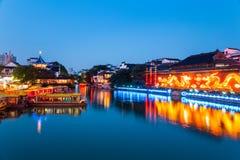 Nanjing confucius temple in nightfall Royalty Free Stock Image