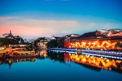 Nanjing confucius temple in nightfall Stock Photography