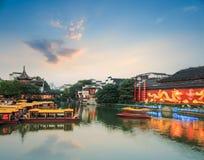 Nanjing scenery of qinhuai river in nightfall Stock Images