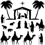 Nativity Silhouettes Collection Royalty Free Stock Images