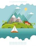 Natur - färben Sie Ikonensatz- und IllustrationsSommerzeit des Vektors flache Lizenzfreie Stockfotografie