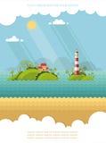 Natur - Sommer-Ferien Tropische Insel im Ozean Lighthou Lizenzfreies Stockbild