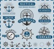 Nautical, NaSeafaring and Marine insignia logotype vintage Royalty Free Stock Images