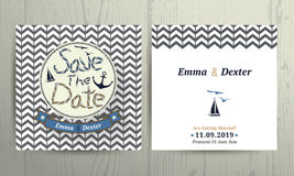 Nautical wedding save the date card on chevron pattern background Stock Images