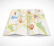 Navigation map with red pins Royalty Free Stock Photos