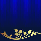 Navy blue Background decorated the golden floral Border. Stock Photo