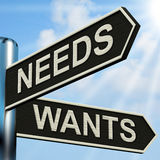 Needs Wants Signpost Means Necessity And Desire Stock Image