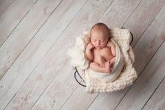 Neonato che dorme in un cesto metallico Fotografia Stock Libera da Diritti