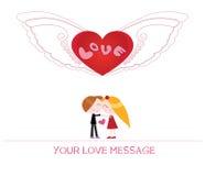 Nette Karikaturillustration der jungen Frau und des Mannes in der Liebe Stockfotografie