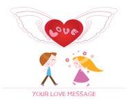 Nette Karikaturillustration der jungen Frau und des Mannes in der Liebe Lizenzfreie Stockfotos