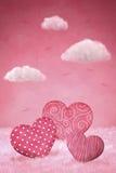 Nette wenig Herzen auf einem rosa Hintergrund Stockfoto