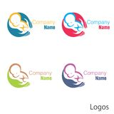 New born baby logo hand Stock Images