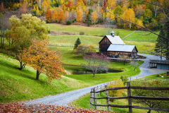 New England countryside, farm in autumn landscape Royalty Free Stock Image