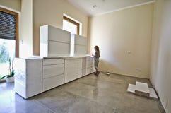 New white kitchen furniture Royalty Free Stock Image