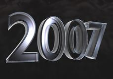New year 2007 in glass (3D) Royalty Free Stock Image