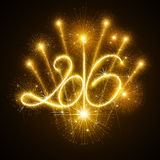 New Year 2016 fireworks Stock Image