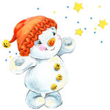 New year snowman and Christmas decoration.  watercolor Royalty Free Stock Photos