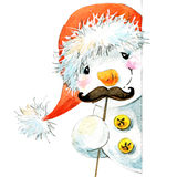 New year  snowman. and Christmas decoration.  watercolor illustration Stock Photos