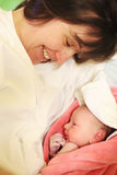 Newborn baby after birth in hospital Royalty Free Stock Photos