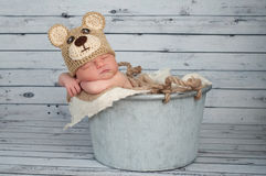 Newborn Baby Boy in a Teaddy Bear Costume Stock Photography