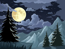 Night landscape with trees, mountains and full moon. Vector illustration. Stock Image