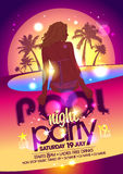 Night pool party poster. Royalty Free Stock Photography