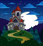 Night scene with fairy tale castle Royalty Free Stock Photography