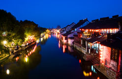 Night scenes of Chinese water village Stock Images