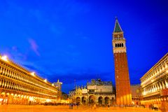 Night scenes of Piazza san marco and campanile Stock Images