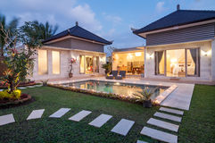 Night shoot Luxury and Private villa with pool outdoor Royalty Free Stock Photos