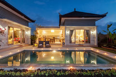 Night shoot Luxury and Private villa with pool outdoor Stock Photo