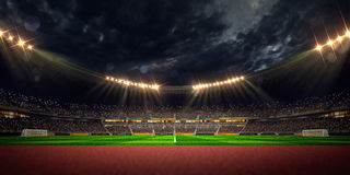 Night stadium arena soccer field Stock Photography