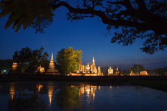 Night in Sukhothai historical park. Buddhist temple ruins in Su Royalty Free Stock Photos