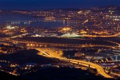 Nightfall in the great Bilbao Royalty Free Stock Photography
