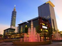 Nightfall and modern buildings Royalty Free Stock Image