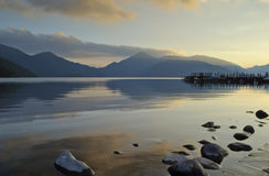 Nightfall over the lake Royalty Free Stock Images