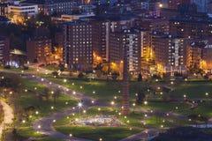 Nightfall in the park of Etxebarria, Bilbao Stock Images