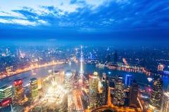 Nightfall view of shanghai Stock Photo