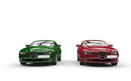 Normal Green And Red Cars Royalty Free Stock Photos