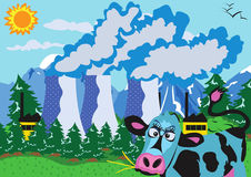 Nuclear powerplant and cow Stock Photography