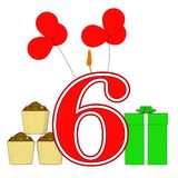 Number Six Candle Means Festive Occasion Royalty Free Stock Photos