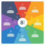 Numbered full page flat rainbow spectrum colored puzzle presentation infographic chart with explanatory text field Stock Photo