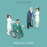 Nurse with old man and patient on wheelchair Stock Images