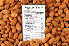 Nutrition facts of almonds Royalty Free Stock Photo