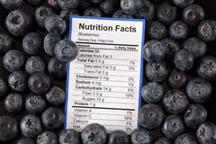 Nutrition facts of blueberries Royalty Free Stock Images